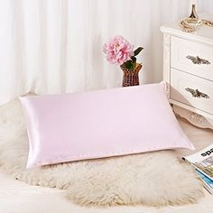 Kids' Pillowcases - ALASKA BEAR  Natural Silk Pillowcase Hypoallergenic 19 momme 600 thread count 100 percent Mulberry Silk Standard Size with hidden zipperPink ** You can get additional details at the image link.