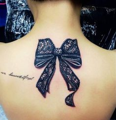 Lace Bow Tattoo for Girls Back of Neck | Women Tattoo Designs ...