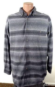 Woolrich Men's Shirt Grey Striped Cotton Button up Long Sleeve XL #woolrich #ButtonFront