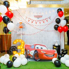 3 Year Old Birthday Party Boy, 2nd Birthday Boys, 1st Birthday Photoshoot, 2nd Birthday Party Themes, Disney Cars Birthday, Diy Birthday Decorations, Cars Birthday Parties, Cars Birthday Invitations, Car Themed Parties