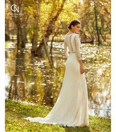 Rústico País Negro vestidos de boda góticos cuello pico ilusión Top encaje manga larga otoño tul vestido de novia Sweep Train abertura larga