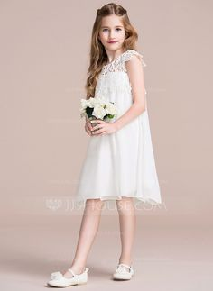Empire Knee-length Flower Girl Dress - Chiffon/Lace Sleeveless Scoop Neck With Ruffles - Flower Girl Dresses - JJsHouse Chiffon Ruffle, Chiffon Dress, Ruffles, Flower Girls, Flower Girl Dresses, Daily Dress, Empire, Lace Shorts, Scoop Neck