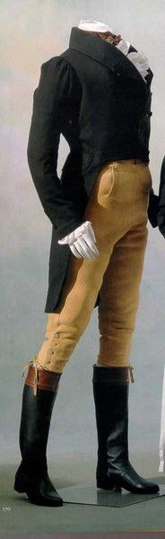 "Buckskin breeches, clawhammer coat, and riding boots from ""The Distinctions of the Regency Dandy"""