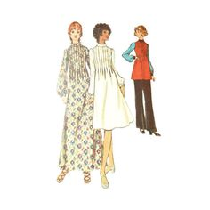 Vintage 1970s Pin Tuck Maxi or Mini Dress Pattern with Tunic