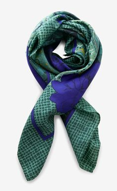 Christian Dior Green And Blue Scarf.