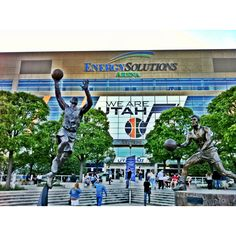 The statues of John Stockton assisting Karl Malone...outside of the Delta Center in SLC