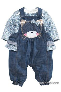 NEXT GIRLS DENIM CAT FRILL DUNGAREES & PINK DITSY FLORAL BODYSUIT OUTFIT/SET in Baby, Clothes, Shoes & Accessories, Girls' Clothing (0-24 Months) | eBay