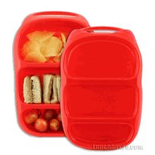 Goodbyn Bynto #bento style lunchbox utilizes three compartments to keep kids' lunches from spilling, sloshing or mixing. Sandwiches won't taste like your banana and your fresh fruit won't have biscuit crumbs in it!