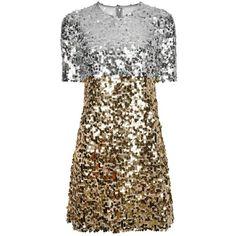 Dolce & Gabbana Paillettes Mini Dress ($2,230) ❤ liked on Polyvore featuring dresses, silver, mini dress, sequin party dresses, glitter party dresses, short party dresses and short-sleeve maxi dresses