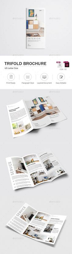 Interior Trifold #Brochure - #Catalogs Brochures Download here:  https://graphicriver.net/item/interior-trifold-brochure/19374251?ref=alena994