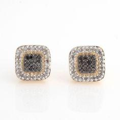 18K Yellow Over Black & White Diamond Sterling Square Earrings w/Screw Back O288 #JPJewels8 #SquareEarrings