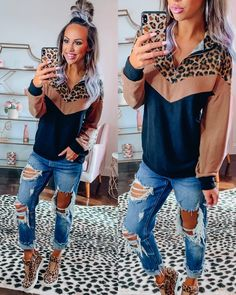 Camel Leopard Half Zip Pullover - New Ideas Country Outfits, Fall Outfits, Summer Outfits, Casual Outfits, Cute Outfits, Fashion Outfits, Womens Fashion, Kinds Of Clothes, Clothes For Women