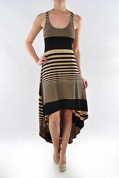 Striped hi-low dress