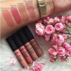 NYX Soft Matte Lip Cream swatches I have London, Stockholm, and Abu Dhabi coming in the mail. Nyx Lipstick, Lipgloss, Lipsticks, Nyx Lip Liner, Fall Lipstick, Nyx Soft Matte Lip Cream, Matte Lips, Batons Matte, Beauty Make-up