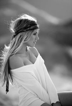 sexy dirty blond boho gal w/ long tresses in headband and oversized white shirt