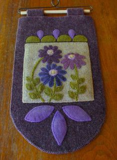 Wool applique patterns - Wool applique KIT PATTERN flowers Purple on the Prairie wall hanging penny rug folk art stencil primitive hand dyed rug hooking wool quilt – Wool applique patterns Motifs Applique Laine, Wool Applique Patterns, Rug Patterns, Hand Applique, Quilt Pattern, Penny Rugs, Felted Wool Crafts, Felt Crafts, Motifs D'appliques
