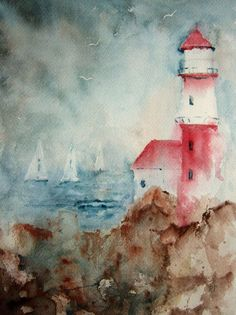 Lighthouse, Print of Original Watercolor Painting double matted 10x8 and ready to frame 14x11 on Etsy, $30.00
