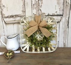 Tobacco Basket With Wreath Square Tobacco Basket With Eucalyptus Wreath Chippy White Tobacco Basket Arrangement Greenery Wreath #ad