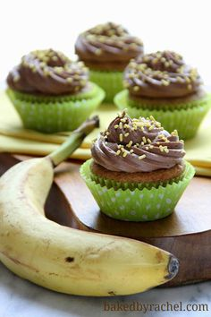 Banana Cupcakes with Chocolate Buttercream