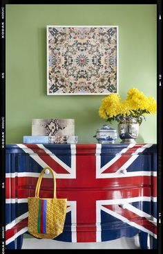 Union Jack-painted dresser in Burnham Design bedroom.
