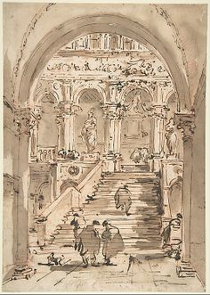 The Staircase of the Giants, Ducal Palace, Venice by Francesco Guardi