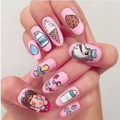 This nail art is so cute ! ♡ Creds? _________________ #melaniemartinez #crybaby #pityparty #crybabytour #alphabetboy #pacifyher #sippycup #splitdye #littlebows #carousel #makeup #limecrime #dollhouse #tagyoureit #milkandcookies #style #madhatter #teddybear #pastel #fanart #playdate #nails #nailart