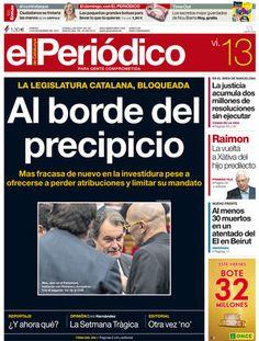 """""""Al borde del precipicio"""", en la portada de EL PERIÓDICO DE CATALUNYA"""