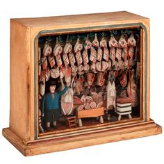 (Mini) Dioramas and Clever Things: Butcher Shop Dioramas Who would have thought butcher shops would be a popular concept for diorama makers? Altered Tins, Altered Art, Dolls House Shop, Paper Art, Paper Crafts, Vitrine Miniature, Toy Theatre, Butcher Shop, Up Book
