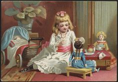 Victorian girl playing with dolls ~ Vintage trade card, ca. late 1800s