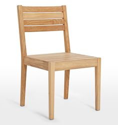 Overlook side chair. Side chair. Wooden chair. Rejuvenation chair. Modern silhouette chair. Timeless update to any outdoor space. Teak wood. Durable outdoor chair. Indoor outdoor chair. Patio decor.
