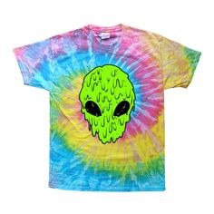 90s Tie Dye Tshirt / 90s alien /melting alien / sea punk / Grunge ($35) ❤ liked on Polyvore featuring tops, t-shirts, shirts, tees, tiedie shirts, pattern t shirt, print shirts, grunge t shirts and tee-shirt