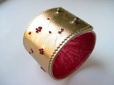 Golden Metallic Hand Ebroidered Leather Cuff Bracelet by maycily, $20.00