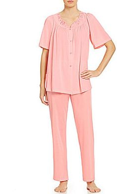 fdd3193d93 Miss Elaine Floral Embroidery Button-Front Pajamas Nightgowns For Women