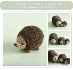 Hedgehog knitting pattern for sale from Little Cotton Rabbits (UK) Black Otter Rex Rabbit, Crochet Toys, Knit Crochet, Knitting Patterns, Crochet Patterns, Knitting Ideas, Little Cotton Rabbits, Thick Yarn, Knitted Animals
