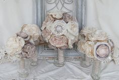 Bridal Brooch Bouquet Package Vintage Bouquet Rustic Flowers Blush/Gray/Ivory Fabric flower bouquet, alternative fabric bouquets