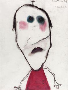 A Prostitute, Pastel, Pat Douthwaite - The Scottish Gallery, Edinburgh - Contemporary Art Since 1842 Painting Collage, Art Paintings, Portrait Art, Portraits, Naive Art, Canadian Artists, Outsider Art, Graphic Design Illustration, Artist At Work