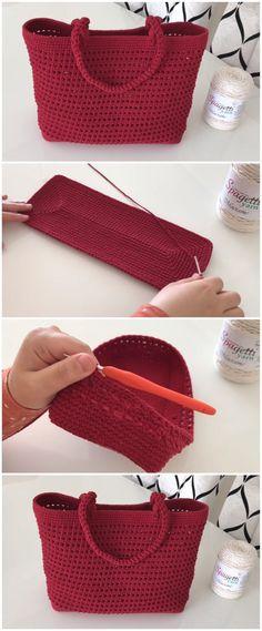 Crochet Bag With Macrame Rope Sac au crochet avec corde en macramé Crochet Handbags, Crochet Purses, Crochet Bags, Crochet Designs, Macrame Patterns, Crochet Ideas, Knitting Patterns, Crochet Stitches, Knit Patterns