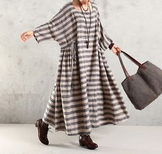 Maxi Dress Cotton Linen 1/2 robe à manches Grande Taille Robe - Buykud- 69$