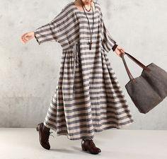 Maxi Dress Cotton Linen 1/2 Sleeve Dress Large Size Dress - Buykud- 1