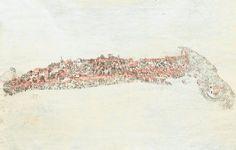 280- Cuiabá - [ca. 1771-1780]<br /> <br /> Imagem sem título [Vista de Cuiabá].<br /> autor: não identificado.<br /> estea arrumado<br /> fonte: Original manuscrito de propriedade da família Albuquerque, pertencente ao acervo da Casa da Ínsua, em Castendo, Portugal.<br /> Mais completa que a anterior (MATO GROSSO - 279) e provavelmente traçada pela mesma mão, esta vista nos revela a aparência de Cuiabá. Pode-se notar que era pequeno o número de sobrados e, à margem do ribeirão, a vila era…