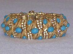 Vintage Ciner Turquoise Cabochon Rhinestone Domed Bracelet - Fabulous! | Jewelry & Watches, Vintage & Antique Jewelry, Costume | eBay!