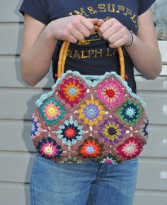 Crochet 'granny square' bag,. $69,00, via Etsy.