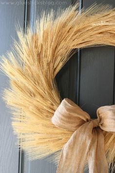 Simple Harvest Wheat Wreath Tutorial                              …