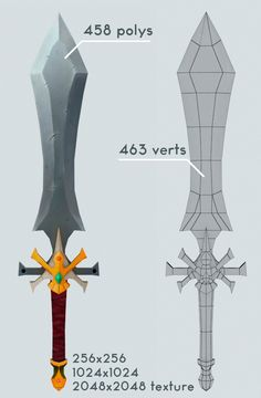 Low Poly Sword by Gustavlegion Low poly fantasy sword. Include textures hi and low resolution. 256 to Hand paint textures. 3d Model Character, Character Modeling, Character Art, Character Design, Zbrush, Modelos Low Poly, Maya Modeling, Mode 3d, 3d Fantasy