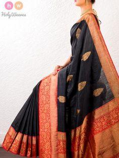 Black Handwoven Muga Silk Kadhuan Brocade Saree