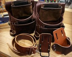Leather Tool Belt, Leather Tooling, Leather Case, Thick Leather, Dark Brown Leather, Amish, Hip Pads, Carpenter Tools, Leather Coasters