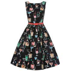 Audrey Black Cocktail Swing Dress   Vintage Style Dresses - Lindy Bop