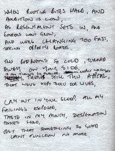 "Ian Curtis, ""Love will tear us apart"" – Joy Division, original text."