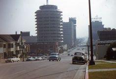 35mm Slide 1959 Hollywood Street Scene Cars Capitol Records California