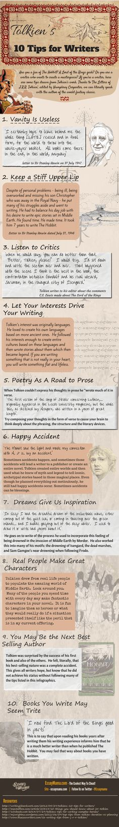 Tolkien s Writing Tips (Infographic) J. Tolkien s 10 Tips for WritersJ. Tolkien s 10 Tips for Writers Writing Quotes, Writing Advice, Writing Help, Writing Skills, Writing A Book, Writing Ideas, Writing Fantasy, Fantasy Fiction, Fiction Writing